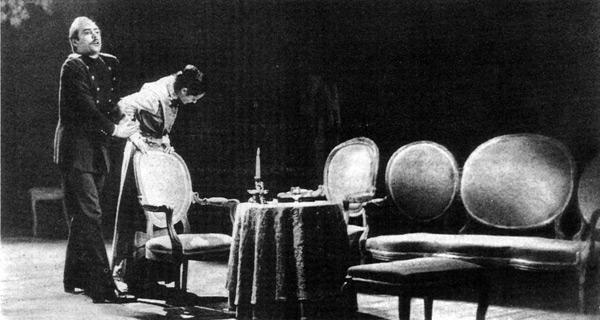 Три сестры. Сцена из спектакля. Ателье театралъ, Лувен-ля-нёв